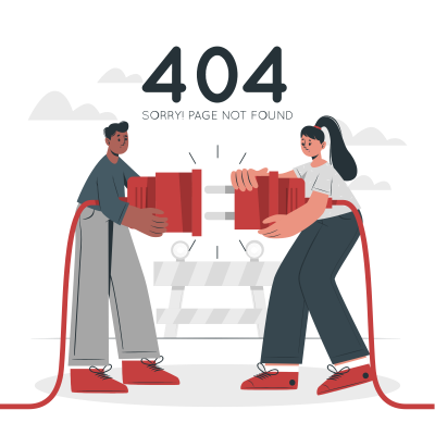 404 Error Page not Found with people connecting a plug-cuate